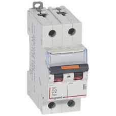 Выключатель автоматический двухполюсный DX3 2А D 25кА | 409817 | Legrand