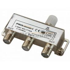 ДЕЛИТЕЛЬ ТВ х 3 под F разъём 5-1000 МГц | 05-6022 | PROconnect