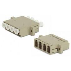 Адаптер проходной оптический FA-P11Z-QLC/QLC-N/WH-BG LC-LC, MM, quadro, 4 волокна, корпус пластиковый, бежевый, белые колпачки | 244023 | Hyperline