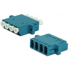 Адаптер проходной оптический FA-P11Z-QLC/QLC-N/WH-BL LC-LC, SM, quadro, 4 волокна, корпус пластиковый, синий, белые колпачки | 244005 | Hyperline