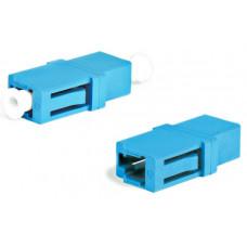 Адаптер проходной оптический FA-P00Z-LC/LC-N/WH-BL LC-LC, SM, simplex, корпус пластиковый, синий, белые колпачки | 243943 | Hyperline