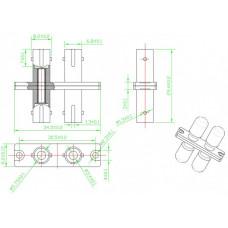 Адаптер проходной оптический FA-S01Z-DST/DST-N/RD-SL ST-ST, SM/MM, duplex, корпус металл, красные колпачки | 243947 | Hyperline