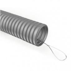 Труба гибкая гофрированная ПВХ 25мм с протяжкой лёгкая GOFR-25-50-PVС (50м) серый | Б0020113 | ЭРА