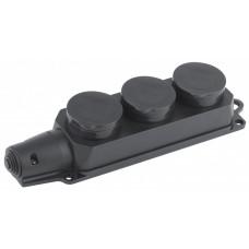 Колодка 3гн, c заземл., каучук, IP44 K-3e-IP44 | Б0030223 | ЭРА