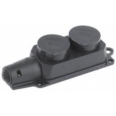 Колодка 2гн, c заземл., каучук, IP44 K-2e-IP44 | Б0030222 |ЭРА
