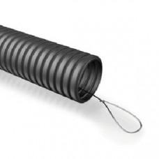 Труба гибкая гофрированная ПНД 25мм с протяжкой лёгкая (25м) черный | Б0020121 | ЭРА