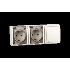 Simon 15 Сл. кость Блок, розетка двойная с/з Schuko 16А 250В + выключатель 1-кл проходной 10А 250В | 1594526-031 | Simon