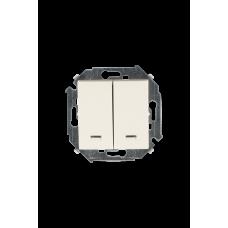 Simon 15 Сл. кость Выключатель 2-кл с подсветкой, 16А 250В, винт. зажим | 1591392-031 | Simon