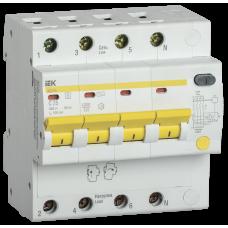 Выключатель автоматический дифференциальный АД14S 4п 25А C 100мА тип AC (5 мод) | MAD13-4-025-C-100 | IEK