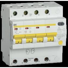 Выключатель автоматический дифференциальный АД14S 4п 20А C 100мА тип AC (5 мод) | MAD13-4-020-C-100 | IEK