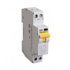 Выключатель автоматический дифференциальный АВДТ32М 1п+N 10А C 30мА тип AC (1 мод) | MAD32-5-010-C-30 | IEK