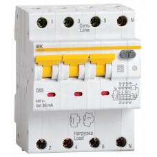 Выключатель автоматический дифференциальный АВДТ 34 3п+N 63А C 30мА тип A   MAD22-6-063-C-30   IEK