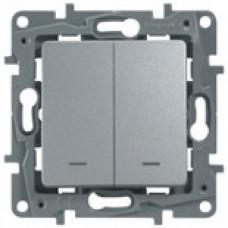 Etika Алюминий Выключатель 2-клавишный с подсветкой/индикациейавт, авт.клеммы, 10 AX, 250 В   672404   Legrand