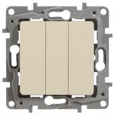Etika Сл.кость Выключатель 3-клавишный, 10А, авт. клем. | 672313 | Legrand