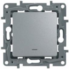 Etika Алюминий Выключатель 1-клавишный с подсветкой/индикацией, авт.клеммы, 10 AX, 250 В   672403   Legrand