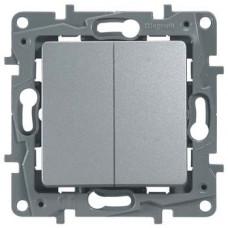 Etika Алюминий Выключатель 2-клавишный, авт.клеммы, 10 AX, 250 В   672402   Legrand