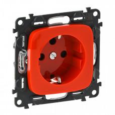 Valena ALLURE Красный Розетка с/з с механической блокировкой, со шторками, безвин зажим | 753132 | Legrand