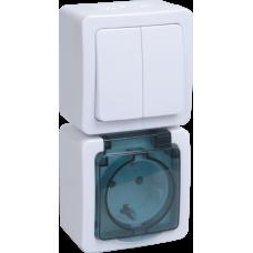 Блок выкл.2кл и розетка с з/к и крышкой для открытой установки белая клав.дымчатая крышка БВб-22-32-ГПБд IP54 Гермес PLUS   EBVMP20-K03-32-54-EC   IEK