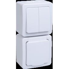 Блок выкл. 2кл и розетка с з/к и крышкой для открытой установки белая клавиша белая крышка БВб-22-32-ГБб IP54 Гермес PLUS   EBVMP20-K01-32-54-EC   IEK
