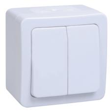 Выключатель двухклавишный для открытой установки ВС20-2-0-ГПБ IP54 серия