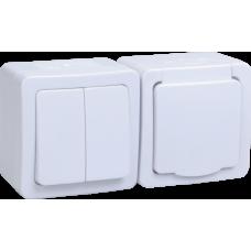 Блок выкл.2кл и розетка с з/к и крышкой для открытой установки белая клавиша белая крышка БГб-22-32-ГПБб IP54 Гермес PLUS   EBGMP20-K01-32-54-EC   IEK