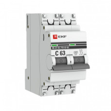 Выключатель автоматический двухполюсный ВА 47-63 16А C 6кА PROxima | mcb4763-6-2-16C-pro | EKF