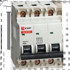 Автоматический выключатель ВА 47-63 6кА, 3P 40А (B) EKF   mcb4763-6-3-40B   EKF
