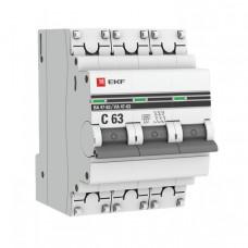 Выключатель автоматический трехполюсный ВА 47-63 50А C 6кА PROxima | mcb4763-6-3-50C-pro | EKF
