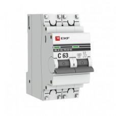 Выключатель автоматический двухполюсный ВА 47-63 10А C 6кА PROxima | mcb4763-6-2-10C-pro | EKF