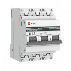Выключатель автоматический трехполюсный ВА 47-63 6А C 4,5кА PROxima   mcb4763-3-06C-pro   EKF