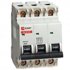 Автоматический выключатель ВА 47-63, 3P 32А (В) 4,5kA EKF   mcb4763-3-32B   EKF