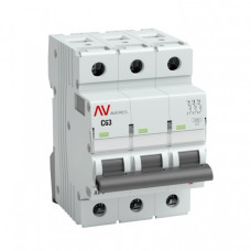 Выключатель автоматический трехполюсный AV-6 3А D 6кА AVERES | mcb6-3-03D-av | EKF