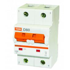 Выключатель автоматический двухполюсный ВА47-125 80А D 15кА | SQ0208-0022 | TDM