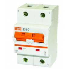Выключатель автоматический двухполюсный ВА47-125 50А D 15кА | SQ0208-0020 | TDM