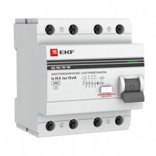 Выключатель дифференциальный (УЗО) ВД-100 4п 25А 10мА тип AC PROxima | elcb-4-25-10-em-pro | EKF