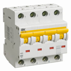 Выключатель автоматический четырехполюсный ВА47-60 1А C 6кА | MVA41-4-001-C | IEK