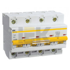 Выключатель автоматический четырехполюсный ВА47-100 63А D 10кА | MVA40-4-063-D | IEK