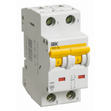 Выключатель автоматический двухполюсный ВА47-60 20А D 6кА | MVA41-2-020-D | IEK
