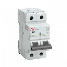 Выключатель автоматический двухполюсный AV-10 63А C 10кА AVERES | mcb10-2-63C-av | EKF