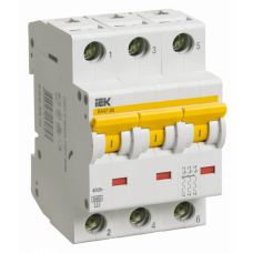 Выключатель автоматический трехполюсный ВА47-60 1А D 6кА | MVA41-3-001-D | IEK