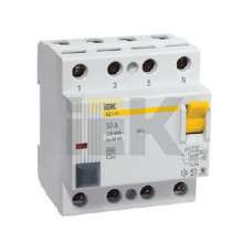 Выключатель дифференциальный (УЗО) ВД1-63 4п 63А 30мА тип AC | MDV10-4-063-030 | IEK