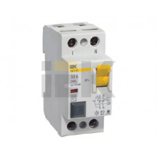 Выключатель дифференциальный (УЗО) ВД1-63 2п 50А 30мА тип AC | MDV10-2-050-030 | IEK