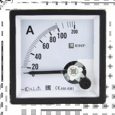 Амперметр AM-A961 аналоговый на панель 96х96 (квадратный вырез) 100А трансформаторное подключение EKF PROxima   am-a961-100   EKF